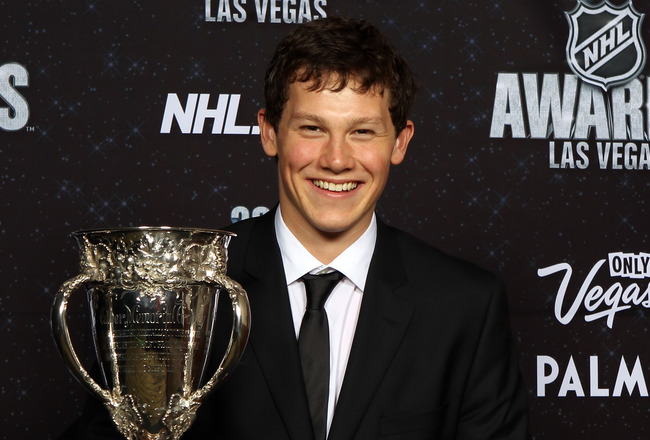 LAS VEGAS, NV - JUNE 22:  Jeff Skinner of the Carolina Hurricanes accepts the Calder Memorial Trophy during the 2011 NHL Awards at The Pearl concert theater at the Palms Casino Resort June 22, 2011 in Las Vegas, Nevada.  (Photo by Bruce Bennett/Getty Imag