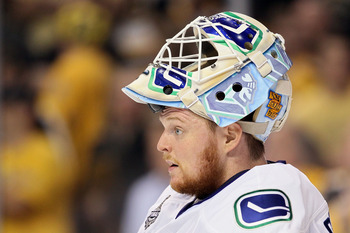 BOSTON, MA - JUNE 13:  Cory Schneider #35 of the Vancouver Canucks looks on during Game Six against the Boston Bruins in the 2011 NHL Stanley Cup Final at TD Garden on June 13, 2011 in Boston, Massachusetts.  (Photo by Elsa/Getty Images)