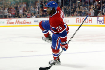MONTREAL, CANADA - SEPTEMBER 21:  P.K. Subban #76 of the Montreal Canadiens celebrates his second period goal against the Buffalo Sabres during the NHL pre-season game at the Bell Centre on September 21, 2011 in Montreal, Quebec, Canada.  (Photo by Richar
