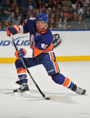 UNIONDALE, NY - SEPTEMBER 24: Michael Grabner #40 of the New York Islanders takes a shot on goal during the second period of a preseason game against the New Jersey Devils at Nassau Coliseum on September 24, 2011 in Uniondale, New York. (Photo by Christop