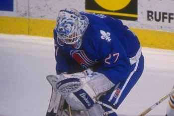 11 Apr 1993:  Goaltender Ron Hextall of the Quebec Nordiques blocks a shot during a game against the Buffalo Sabres at Memorial Auditorium in Buffalo, New York. Mandatory Credit: Rick Stewart  /Allsport