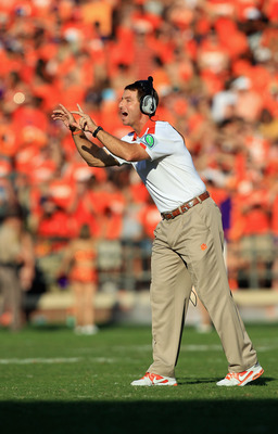 CLEMSON, SC - SEPTEMBER 24:  Head coach Dabo Swinney of the Clemson Tigers yells to his team against the Florida State Seminoles at Memorial Stadium on September 24, 2011 in Clemson, South Carolina.  (Photo by Streeter Lecka/Getty Images)