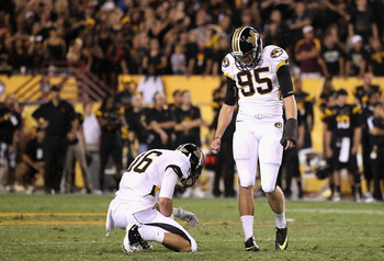 TEMPE, AZ - SEPTEMBER 09:  Kicker Grant Ressel #95 (R) and Ashton Glaser #16 of the Missouri Tigers react after missing the possible game winning field goal in the final seconds of regulation of the college football game against the Arizona State Sun Devi