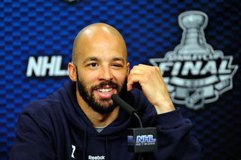 Manny addresses the media during the Stanley Cup finals