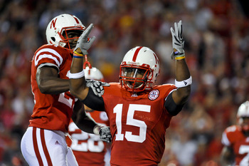 LINCOLN, NEBRASKA - SEPTEMBER 25: Nebraska Cornhuskers cornerback Alfonzo Dennard #15 celebrates with teammate  cornerback Prince Amukamara #21during second half action of their game at Memorial Stadium on September 25, 2010 in Lincoln, Nebraska. Nebraska