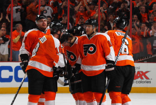 PHILADELPHIA, PA - APRIL 22:  Andrej Meszaros #41 of the Philadelphia Flyers celebrates with teammates after scoring a goal in the second period of Game Five of the Eastern Conference Quarterfinals during the 2011 NHL Stanley Cup Playoffs at Wells Fargo C
