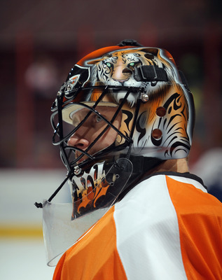 PHILADELPHIA, PA - SEPTEMBER 21:  Ilya Bryzgalov #30 the Philadelphia Flyers skates in warmups prior to the game against the Toronto Maple Leafs at the Wells Fargo Center on September 21, 2011 in Philadelphia, Pennsylvania.  (Photo by Bruce Bennett/Getty