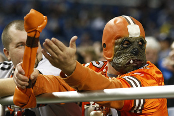 DETROIT, MI - NOVEMBER 22: A Cleveland Browns fan looks on against the Detroit Lions at Ford Field on November 22, 2009 in Detroit, Michigan. The Lions came from behind to defeat the Browns 38-37. (Photo by Joe Robbins/Getty Images)