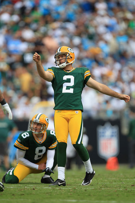 CHARLOTTE, NC - SEPTEMBER 18:  Mason Crosby #2 of the Green Bay Packers during their game against the Carolina Panthers at Bank of America Stadium on September 18, 2011 in Charlotte, North Carolina.  (Photo by Streeter Lecka/Getty Images)