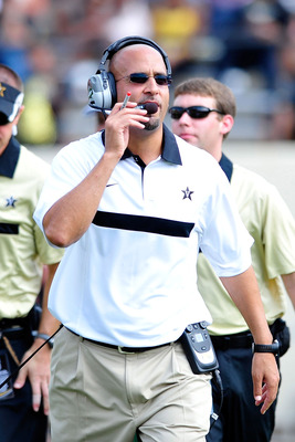 NASHVILLE, TN - SEPTEMBER 17:  Coach James Franklin of the Vanderbilt Commodores watches his team against the Ole Miss Rebels at Vanderbilt Stadium on September 17, 2011 in Nashville, Tennessee. Vnderbilt won 30-7.  (Photo by Grant Halverson/Getty Images)