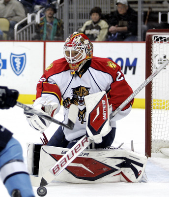 Tomas Vokoun is seen here in Panthers attire, since he's yet to dress up for the Caps this preseason.