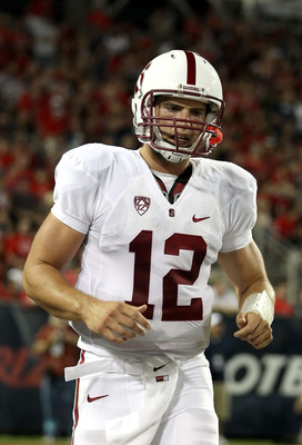 TUCSON, AZ - SEPTEMBER 17:  Quarterback Andrew Luck #12 of the Stanford Cardinal during the college football game against the Arizona Wildcats at Arizona Stadium on September 17, 2011 in Tucson, Arizona. The Cardinal defeated the Wildcats 37-10.  (Photo b