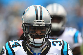 CHARLOTTE, NC - SEPTEMBER 18:  DeAngelo Williams #34 of the Carolina Panthers of the Carolina Panthers during their game against the Green Bay Packers at Bank of America Stadium on September 18, 2011 in Charlotte, North Carolina.  (Photo by Streeter Lecka