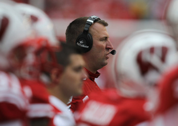 MADISON, WI - SEPTEMBER 24: Head coach Bret Bielema of the Wisconsin Badgers watches as his team takes on the South Dakota Coyotes at Camp Randall Stadium on September 24, 2011 in Madison Wisconsin. Wisconsin defeated South Dakota 59-10.(Photo by Jonathan