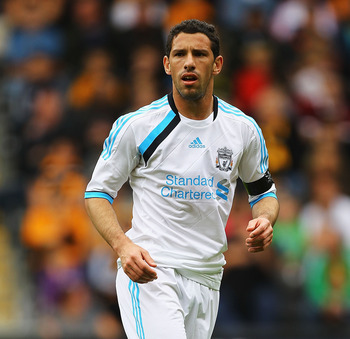HULL, ENGLAND - JULY 23:  Maxi Rodriguez of Liverpool in action during the Pre Season Friendly match between Hull City and Liverpool at KC Stadium on July 23, 2011 in Hull, England.  (Photo by Matthew Lewis/Getty Images)