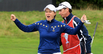 DUNSHAUGHLIN, IRELAND - SEPTEMBER 25:  Catriona Matthew of Europe celebrates winning her match on the 13th green during the singles matches on day three of the 2011 Solheim Cup at Killeen Castle Golf Club on September 25, 2011 in Dunshaughlin, County Meat