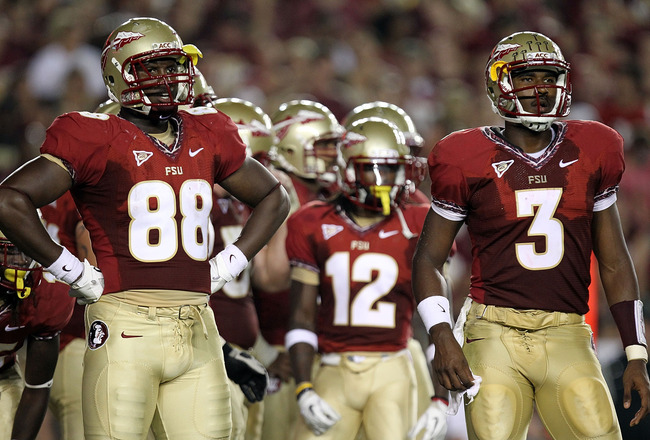 TALLAHASSEE, FL - SEPTEMBER 17: Beau Reliford #88 of the Florida State Seminoles and EJ Manuel #3 at Doak Campbell Stadium on September 17, 2011 in Tallahassee, Florida.  (Photo by Ronald Martinez/Getty Images)