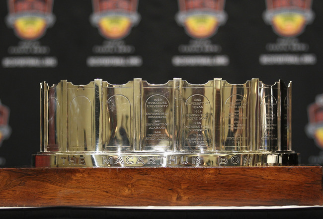 SCOTTSDALE, AZ - JANUARY 11:  Detail of the  MacArthur Bowl before being presented to head coach Gene Chizik (not pictured) of the Auburn Tigers during a press conference for the Tostitos BCS National Championship Game at the JW Marriott Camelback Inn on