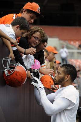 CLEVELAND, OH - SEPTEMBER 25: Cornerback  Joe Haden #23 of the Cleveland Browns signs autographs prior to the game against the Miami Dolphins at Cleveland Browns Stadium on September 25, 2011 in Cleveland, Ohio. (Photo by Jason Miller/Getty Images)
