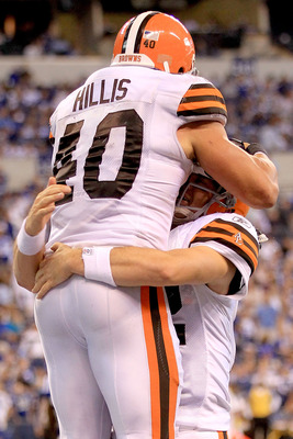 INDIANAPOLIS, IN - SEPTEMBER 18:  Peyton Hillis #40 of the Cleveland Browns is congratulated by Colt McCoy #12 after scoring a touchdown against the Indianapolis Colts at Lucas Oil Stadium on September 18, 2011 in Indianapolis, Indiana.  (Photo by Matthew