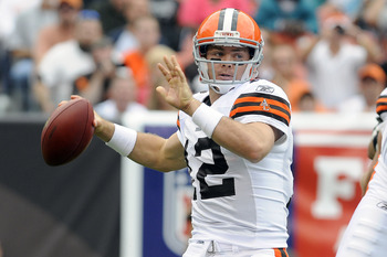 CLEVELAND, OH - SEPTEMBER 25: Starting quarterback Colt McCoy #12 of the Cleveland Browns drops back to pass during the first quarter against the Miami Dolphins at Cleveland Browns Stadium on September 25, 2011 in Cleveland, Ohio. (Photo by Jason Miller/G