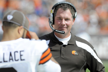 CLEVELAND, OH - SEPTEMBER 25: Head Coach Pat Shurmur of the Cleveland Browns smiles while on the sidelines after a Browns touchdown during the second quarter against the Miami Dolphins at Cleveland Browns Stadium on September 25, 2011 in Cleveland, Ohio.
