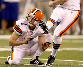 INDIANAPOLIS, IN - SEPTEMBER 18:  Phil Dawson #4of the Cleveland Browns kicks a field goal against the Indianapolis Colts at Lucas Oil Stadium on September 18, 2011 in Indianapolis, Indiana. Brad Maynard #7 is the holder. (Photo by Matthew Stockman/Getty