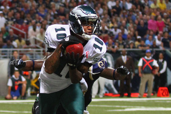 ST. LOUIS - SEPTEMBER 11: DeSean Jackson #10 of the Philadelphia Eagles catches a touchdown pass against the St. Louis Rams at the Edward Jones Dome on September 11, 2011 in St. Louis, Missouri. The Eagles beat the Rams 31-13. (Photo by Dilip Vishwanat/Ge