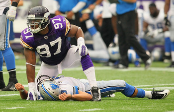 MINNEAPOLIS, MN - SEPTEMBER 25:   Everson Griffen #97 of the Minnesota Vikings looks at a referee after making a sack on  Matthew Stafford #9 of the Detroit Lions at the Hubert H. Humphrey Metrodome on September 25, 2011 in Minneapolis, Minnesota.  (Photo