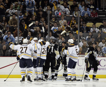 PITTSBURGH, PA - FEBRUARY 04:  Mike Grier #25 of the Buffalo Sabres celebrates his goal against the Pittsburgh Penguins at the Consol Energy Center on February 4, 2011 in Pittsburgh, Pennsylvania.  (Photo by Justin K. Aller/Getty Images)