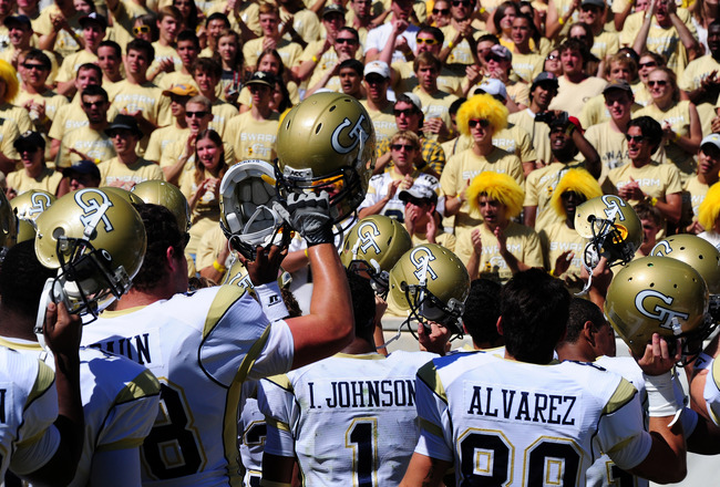 ATLANTA, GA - SEPTEMBER 24: Members of the Georgia Tech Yellow Jackets celebrate after the game against the North Carolina Tar Heels at Bobby Dodd Field on September 24, 2011 in Atlanta, Georgia. (Photo by Scott Cunningham/Getty Images)