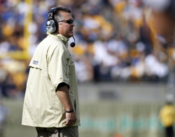 PITTSBURGH, PA - SEPTEMBER 24:  Pittsburgh Panthers head coach Todd Graham looks on against the Notre Dame Fighting Irish during the game on September 24, 2011 at Heinz Field in Pittsburgh, Pennsylvania.  The Irish defeated the Panthers 15-12.  (Photo by