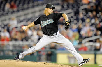 WASHINGTON, DC - SEPTEMBER 16:  Javier Vazquez #23 of the Florida Marlins pitches against the Washington Nationals at Nationals Park on September 16, 2011 in Washington, DC.  (Photo by Greg Fiume/Getty Images)