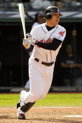 CLEVELAND, OH - SEPTEMBER 24: Kosuke Fukudome #1 of the Cleveland Indians hits a two RBI single during the sixth inning against the Minnesota Twins at Progressive Field on September 24, 2011 in Cleveland, Ohio. (Photo by Jason Miller/Getty Images)