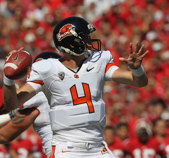 Redshirt freshman QB Sean Mannion debuted as a starter for the Beavers and was 24 of 40 for 287 yards, one TD and one INT