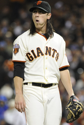 SAN FRANCISCO, CA - AUGUST 29: Tim Lincecum #55 of the San Francisco Giants looks on after being taken out by manager Bruce Bochy against the Chicago Cubs in the seventh inning during an MLB baseball game at AT&T Park August 29, 2011 in San Francisco, Cal