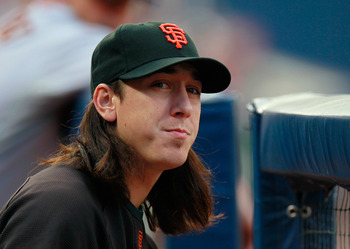 ATLANTA, GA - AUGUST 17:  Tim Lincecum #55 of the San Francisco Giants watches from the dugout against the Atlanta Braves at Turner Field on August 17, 2011 in Atlanta, Georgia.  (Photo by Kevin C. Cox/Getty Images)