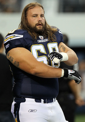 ARLINGTON, TX - AUGUST 21:  Colin Baxter #60 of the San Diego Chargers at Cowboys Stadium on August 21, 2011 in Arlington, Texas.  (Photo by Ronald Martinez/Getty Images)