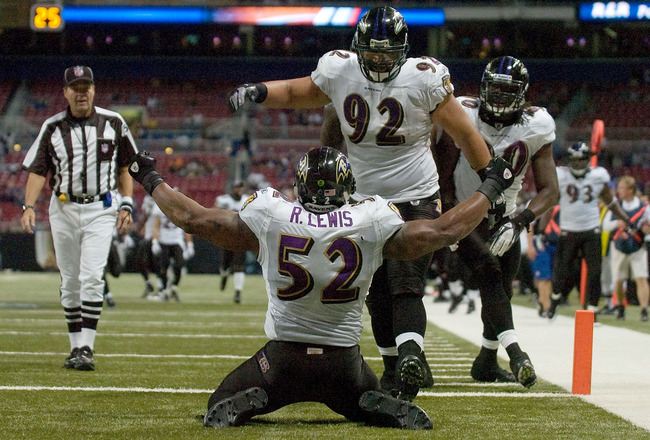 ST. LOUIS, MO - SEPTEMBER 25: Ray Lewis #52 of the Baltimore Ravens celebrates after Haloti Ngata #92 picked up a fumble and returned it for a touchdown against the St. Louis Rams at the Edward Jones Dome on September 25, 2011 in St. Louis, Missouri. The