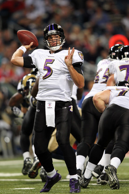 ST LOUIS, MO - SEPTEMBER 25:  Quarterback Joe Flacco #5 of the Baltimore Ravens passes during the game on against the St. Louis Rams September 25, 2011 at the Edward Jones Dome in St Louis, Missouri.  (Photo by Jamie Squire/Getty Images)