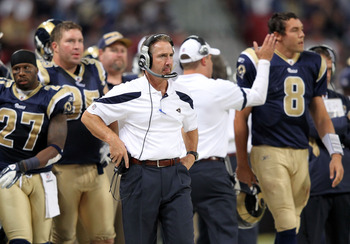 ST LOUIS, MO - SEPTEMBER 25:  Head coach Steve Spagnuolo of the St. Louis Rams watches from the sidelines during the game against the Baltimore Ravens on September 25, 2011 at the Edward Jones Dome in St Louis, Missouri.  (Photo by Jamie Squire/Getty Imag