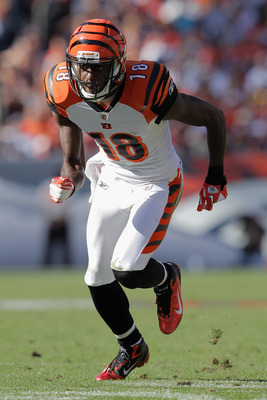 DENVER, CO - SEPTEMBER 18:  Wide receiver A.J. Green #18 of the Cincinnati Bengals leaves the line of scrimmage against the Denver Broncos at Sports Authority Field at Mile High on September 18, 2011 in Denver, Colorado. The Broncos defeated the Bengals 2