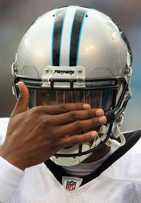 CHARLOTTE, NC - SEPTEMBER 25:  Cam Newton #1 of the Carolina Panthers against the Jacksonville Jaguars during their game at Bank of America Stadium on September 25, 2011 in Charlotte, North Carolina.  (Photo by Streeter Lecka/Getty Images)