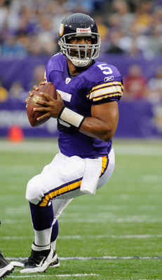 MINNEAPOLIS, MN - SEPTEMBER 25: Donovan McNabb #5 of the Minnesota Vikings looks to pass the ball during the first quarter against the Detroit Lions on September 25, 2011 at Hubert H. Humphrey Metrodome in Minneapolis, Minnesota. (Photo by Hannah Foslien/
