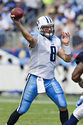 NASHVILLE, TN - SEPTEMBER 25:  Matt Hasselbeck #8 of the Tennessee Titans throws a pass against the Denver Broncos at LP Field on September 25, 2011 in Nashville, Tennessee.   The Titans defeated the Broncos 17 - 14.  (Photo by Wesley Hitt/Getty Images)