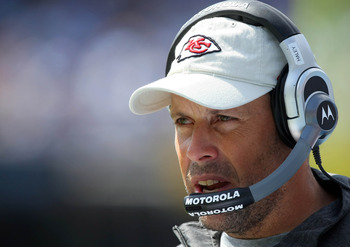 SAN DIEGO, CA - SEPTEMBER 25:   Head Coach Todd Haley of the Kansas City Chiefs looks on against the San Diego Chargers during their NFL Game on September 25, 2011 at Qualcomm Stadium in San DIego, California. (Photo by Donald Miralle/Getty Images)