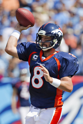 NASHVILLE, TN - SEPTEMBER 25:  Kyle Orton #8 of the Denver Broncos throws a pass against the Tennessee Titans at LP Field on September 25, 2011 in Nashville, Tennessee.   The Titans defeated the Broncos 17 - 14.  (Photo by Wesley Hitt/Getty Images)