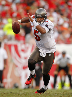 TAMPA, FL - SEPTEMBER 25:  Josh Freeman #5 of the Tampa Bay Buccaneers runs with the ball during a game against the Atlanta Falcons at Raymond James Stadium on September 25, 2011 in Tampa, Florida.  (Photo by Mike Ehrmann/Getty Images)