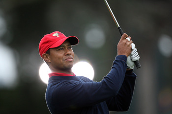SAN FRANCISCO - OCTOBER 11:  Tiger Woods of the USA Team on the 8th hole during the Day Four Singles Matches in The Presidents Cup at Harding Park Golf Course on October 11, 2009 in San Francisco, California  (Photo by David Cannon/Getty Images)