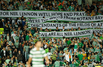 SYDNEY, AUSTRALIA - JULY 02: Celtic fans hold up a banner during the international friendly club match between the Central Coast Mariners and Glasgow Celtic at ANZ Stadium on July 2, 2011 in Sydney, Australia.  (Photo by Cameron Spencer/Getty Images)